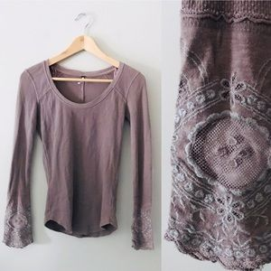 Free People Lovely Lady Cuff Thermal Top Mauve S